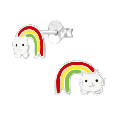 Children's Silver Rainbow Cat Ear Studs with Epoxy
