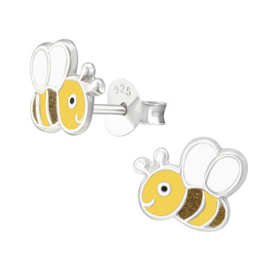 Children's Silver Bee Ear Studs with Epoxy