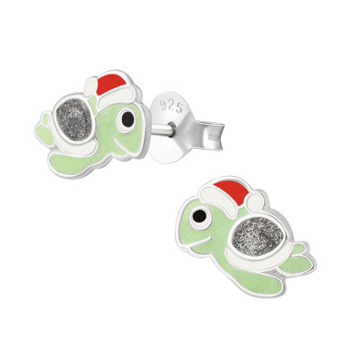 Children's Silver Turtle Ear Studs with Epoxy