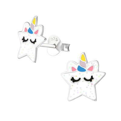 Children's Silver Star Ear Studs with Epoxy