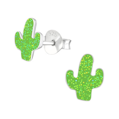 Children's Silver Cactus Ear Studs with Epoxy