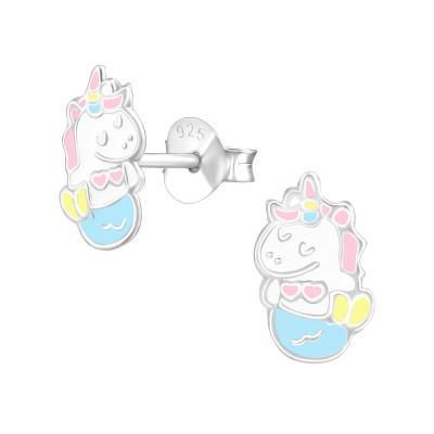 Children's Silver Mernicorn Ear Studs with Epoxy