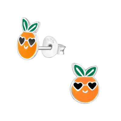 Children's Silver Orange Ear Studs with Epoxy