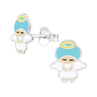 Children's Silver Angel Ear Studs with Epoxy