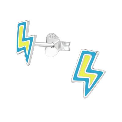 Children's Silver Lightning Bolt Ear Studs with Epoxy