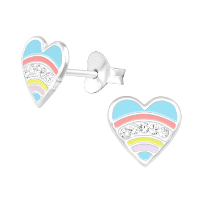 Children's Silver Heart Ear Studs with Crystal and Epoxy
