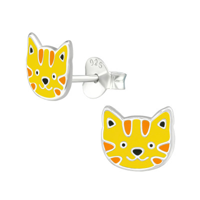 Children's Silver Tiger Ear Studs with Epoxy
