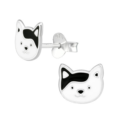 Children's Silver Cat Ear Studs with Epoxy