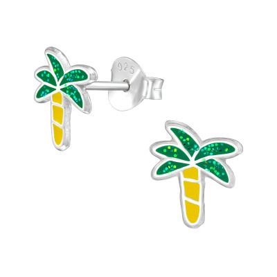 Children's Silver Coconut Tree Ear Studs with Epoxy