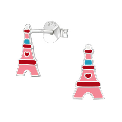 Children's Silver Eiffel Tower Ear Studs with Epoxy