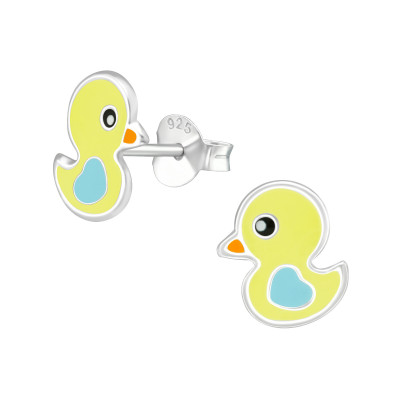 Children's Silver Duck Ear Studs with Epoxy