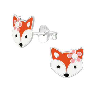 Children's Silver Fox Ear Studs with Epoxy