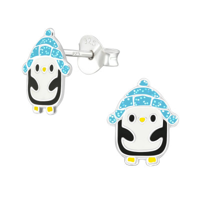 Children's Silver Penguin Ear Studs with Epoxy