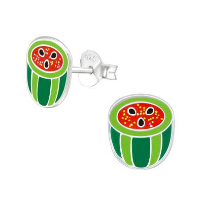 Children's Silver Watermelon Ear Studs with Epoxy