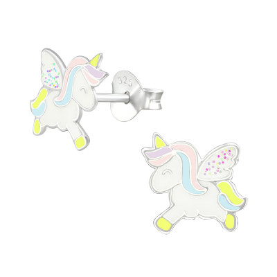 Children's Silver Unicorn Ear Studs with Epoxy