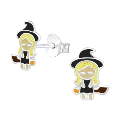 Children's Silver Witch Ear Studs with Epoxy