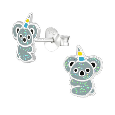 Children's Silver Koalacorn Ear Studs with Epoxy