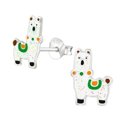 Children's Silver Alpaca Ear Studs with Epoxy