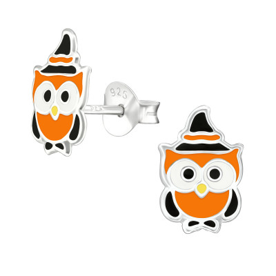 Children's Silver Owl Ear Studs with Epoxy