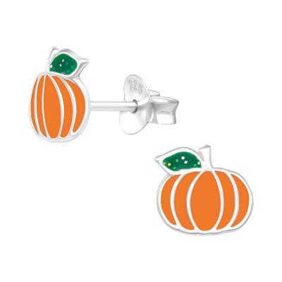 Children's Silver Pumpkin Ear Studs with Epoxy