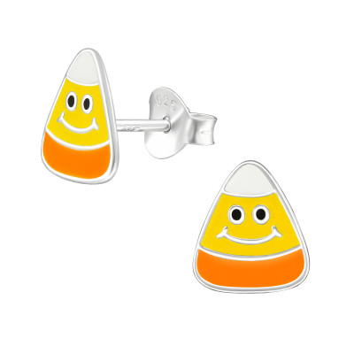 Children's Silver Candy Corn Ear Studs with Epoxy