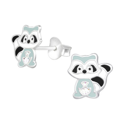 Children's Silver Raccoon Ear Studs with Epoxy