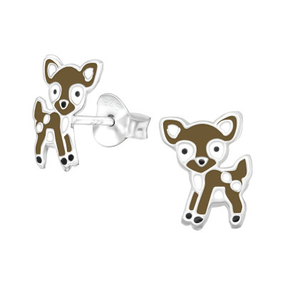 Children's Silver Deer Ear Studs with Epoxy