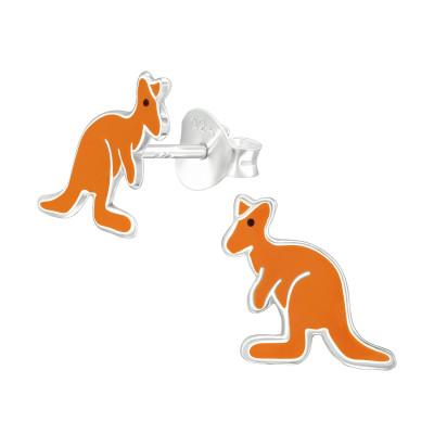 Children's Silver Kangaroo Ear Studs with Epoxy