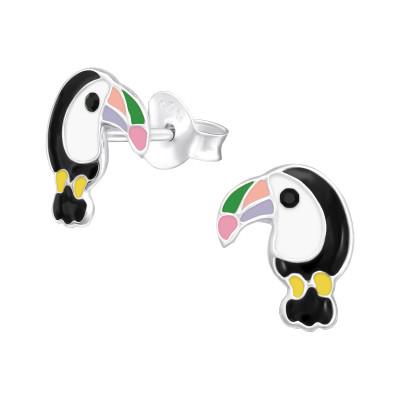 Children's Silver Hornbill Ear Studs with Epoxy