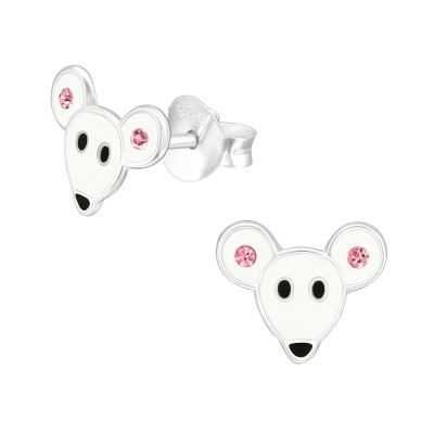 Children's Silver Mouse Ear Studs with Crystal and Epoxy