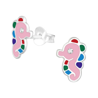 Children's Silver Sea horse Ear Studs with Crystal  and Epoxy