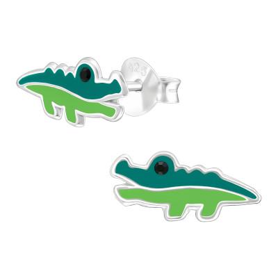 Children's Silver Crocodile Ear Studs with Epoxy