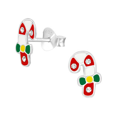 Children's Silver Candy Canes Ear Studs with Crystal and Epoxy