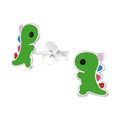 Children's Silver Dinosaur Ear Studs with Crystal and Epoxy