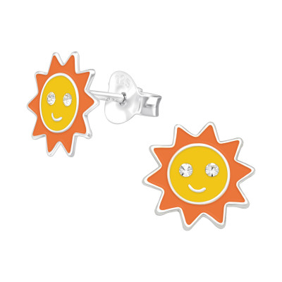 Children's Silver Sun Ear Studs with Crystal and Epoxy
