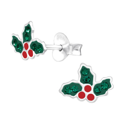 Children's Silver Holly Leaf Ear Studs with Crystal and Epoxy