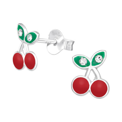 Children's Silver Cherry Ear Studs with Epoxy and Crystal