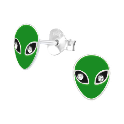 Children's Silver Alien Ear Studs with Crystal and Epoxy