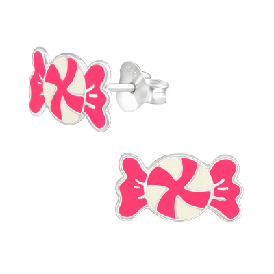 Children's Silver Candy Ear Studs with Epoxy