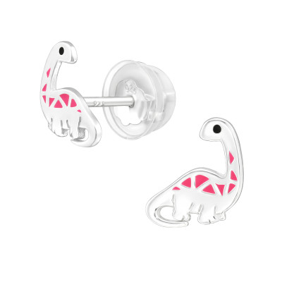 Premium Children's Silver Dinosaur Ear Studs with Epoxy