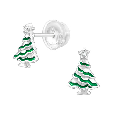 Premium Children's Silver Christmas Tree Ear Studs with Cubic Zirconia and Epoxy