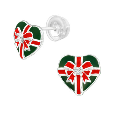 Premium Children's Silver Christmas Present Ear Studs with Cubic Zirconia and Epoxy