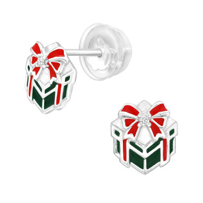 Premium Children's Silver Gift Present Ear Studs with Cubic Zirconia and Epoxy