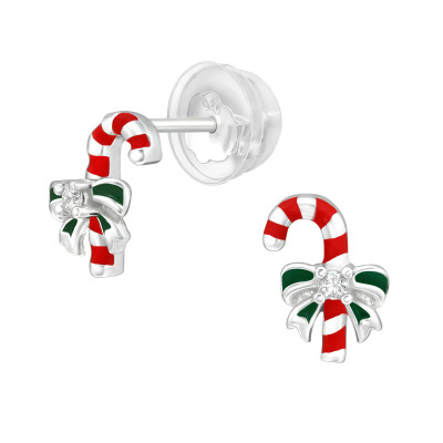 Premium Children's Silver Candy Canes Ear Studs with Cubic Zirconia and Epoxy