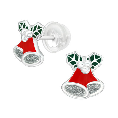 Premium Children's Silver Bell Ear Studs with Epoxy