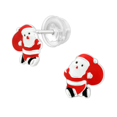 Premium Children's Silver Santa Claus Ear Studs with Epoxy