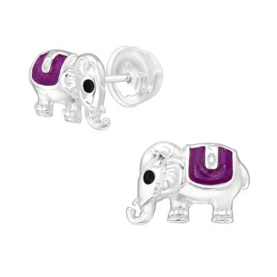 ิPremium Children's Silver Elephant Ear Studs with Epoxy