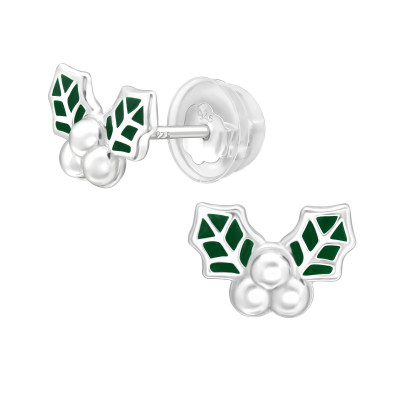 Premium Children's Silver Holly Leaf Ear Studs with Epoxy