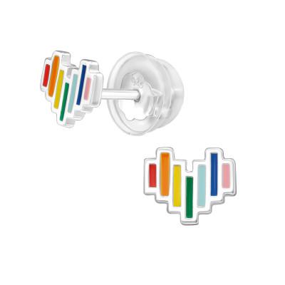 Premium Children's Silver Heart Ear Studs with Epoxy