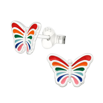 Silver Butterfly Ear Studs with Epoxy